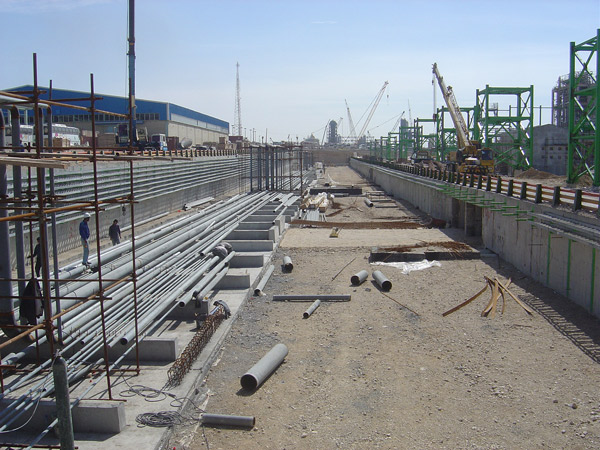 Civil Works GRP Pipes (Thrust Block) of Jam Petrochemical Co